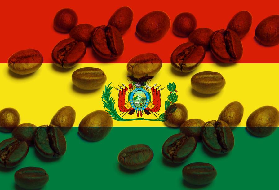 Зерна кофе на флаге Боливии
